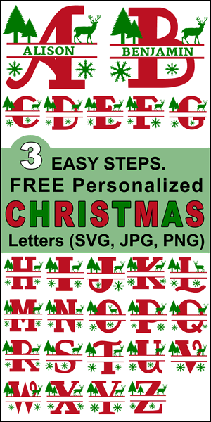 Free Christmas Clipart Alphabet letters that you can personalize or customize with your name.  Use the online monogram generator to create SVG, PNG, JPG designs for Cricut and Silhouette, Cut Files