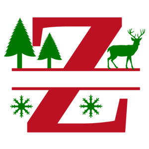 Free Z Christmas clipart alphabet letter split monogram stencil template print download vector circuit silhouette svg laser scroll saw.