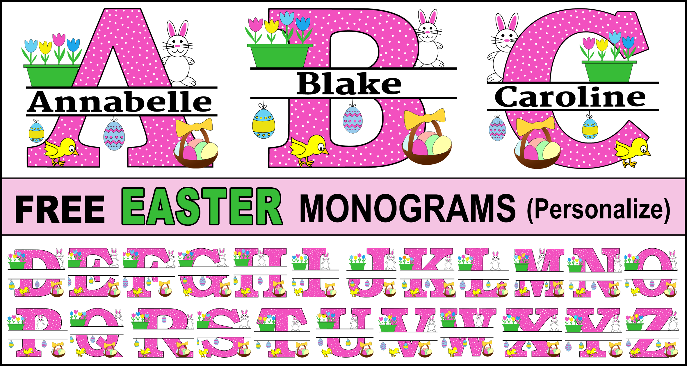 Easter Monogram Clip Art: Personalize Your Name