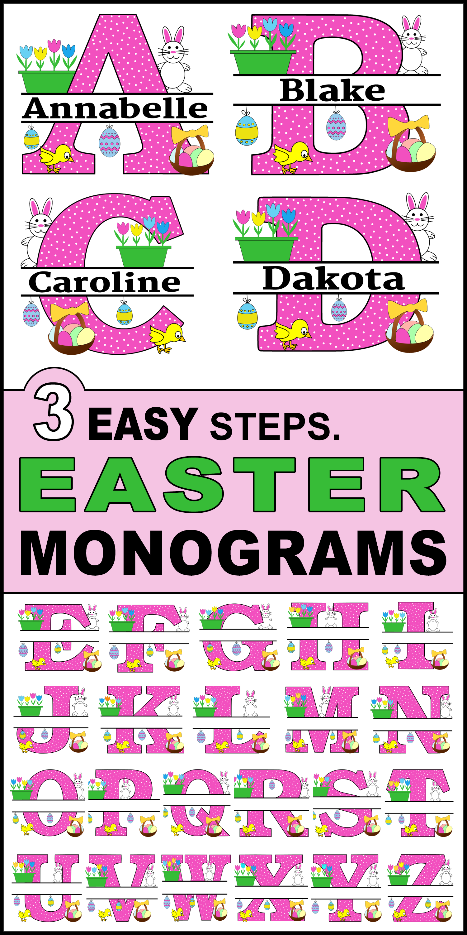 Free Easter Monogram Clip art font Alphabet letters that you can personalize or customize with your name.  Use the online monogram generator to create SVG, PNG, JPG designs for Cricut and Silhouette, Cut Files