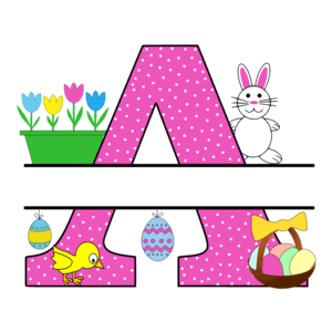 Free Easter monogram font A bunny egg basket chicken clipart alphabet letter split customize or personalize stencil template to print or download vector svg laser vinyl circuit silhouette.