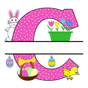 Free Easter monogram font C bunny egg basket chicken clipart alphabet letter split customize or personalize stencil template to print or download vector svg laser vinyl circuit silhouette.