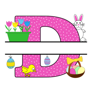 Free Easter monogram font D bunny egg basket chicken clipart alphabet letter split customize or personalize stencil template to print or download vector svg laser vinyl circuit silhouette.