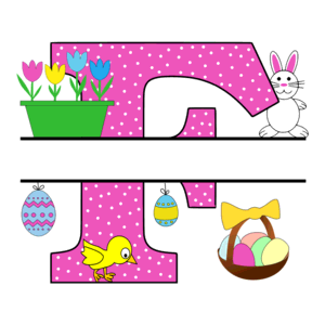 Free Easter monogram font F bunny egg basket chicken clipart alphabet letter split customize or personalize stencil template to print or download vector svg laser vinyl circuit silhouette.