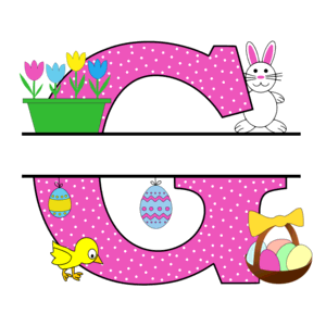 Free Easter monogram font G bunny egg basket chicken clipart alphabet letter split customize or personalize stencil template to print or download vector svg laser vinyl circuit silhouette.