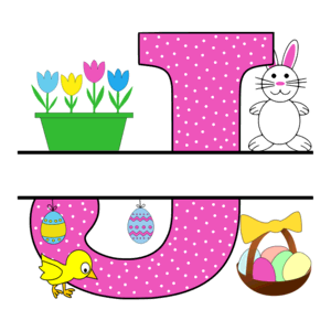 Free Easter monogram font J bunny egg basket chicken clipart alphabet letter split customize or personalize stencil template to print or download vector svg laser vinyl circuit silhouette.