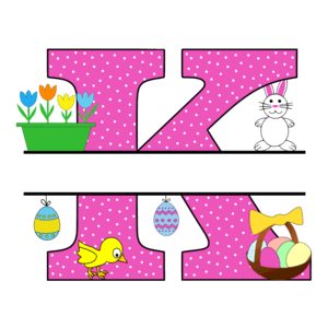 Free Easter monogram font K bunny egg basket chicken clipart alphabet letter split customize or personalize stencil template to print or download vector svg laser vinyl circuit silhouette.