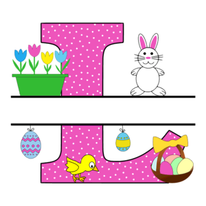 Free Easter monogram font L bunny egg basket chicken clipart alphabet letter split customize or personalize stencil template to print or download vector svg laser vinyl circuit silhouette.