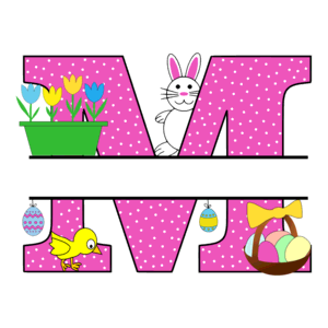 Free Easter monogram font M bunny egg basket chicken clipart alphabet letter split customize or personalize stencil template to print or download vector svg laser vinyl circuit silhouette.