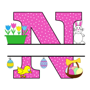Free Easter monogram font N bunny egg basket chicken clipart alphabet letter split customize or personalize stencil template to print or download vector svg laser vinyl circuit silhouette.