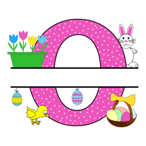 Free Easter monogram font O bunny egg basket chicken clipart alphabet letter split customize or personalize stencil template to print or download vector svg laser vinyl circuit silhouette.