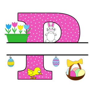 Free Easter monogram font P bunny egg basket chicken clipart alphabet letter split customize or personalize stencil template to print or download vector svg laser vinyl circuit silhouette.
