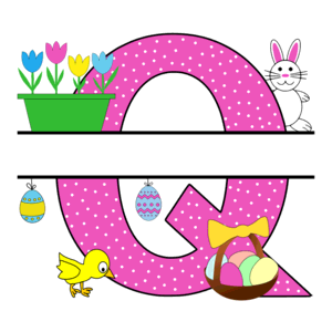 Free Easter monogram font Q bunny egg basket chicken clipart alphabet letter split customize or personalize stencil template to print or download vector svg laser vinyl circuit silhouette.