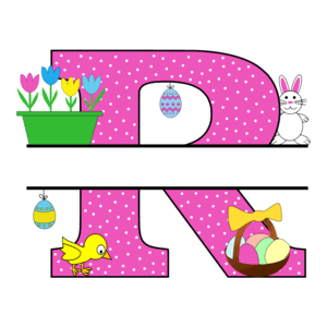 Free Easter monogram font R bunny egg basket chicken clipart alphabet letter split customize or personalize stencil template to print or download vector svg laser vinyl circuit silhouette.