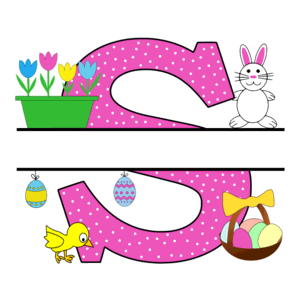 Free Easter monogram font S bunny egg basket chicken clipart alphabet letter split customize or personalize stencil template to print or download vector svg laser vinyl circuit silhouette.