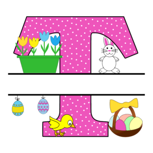 Free Easter monogram font T bunny egg basket chicken clipart alphabet letter split customize or personalize stencil template to print or download vector svg laser vinyl circuit silhouette.