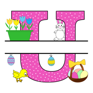 Free Easter monogram font U bunny egg basket chicken clipart alphabet letter split customize or personalize stencil template to print or download vector svg laser vinyl circuit silhouette.