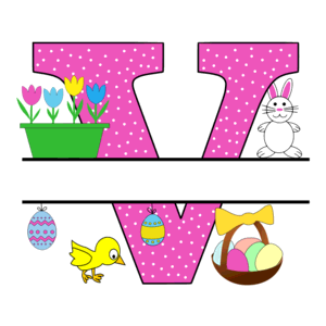 Free Easter monogram font V bunny egg basket chicken clipart alphabet letter split customize or personalize stencil template to print or download vector svg laser vinyl circuit silhouette.