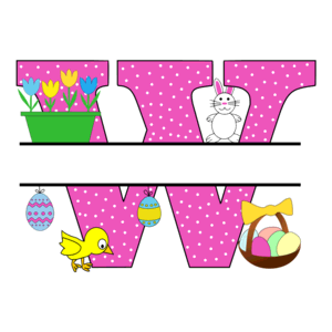 Free Easter monogram font W bunny egg basket chicken clipart alphabet letter split customize or personalize stencil template to print or download vector svg laser vinyl circuit silhouette.