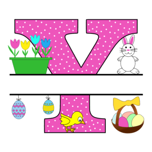 Free Easter monogram font Y bunny egg basket chicken clipart alphabet letter split customize or personalize stencil template to print or download vector svg laser vinyl circuit silhouette.