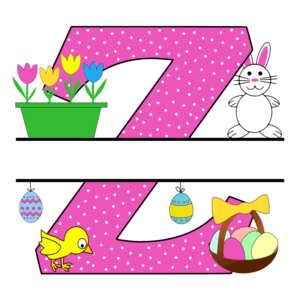Free Easter monogram font Z bunny egg basket chicken clipart alphabet letter split customize or personalize stencil template to print or download vector svg laser vinyl circuit silhouette.