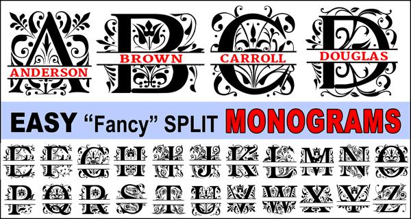 Fancy Split Font Monograms