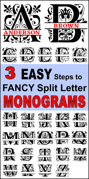 Free fancy split letter font monograms that you can personalize or customize with your name.  Use the online monogram generator to create SVG, PNG, JPG designs for Cricut and Silhouette, Cut Files