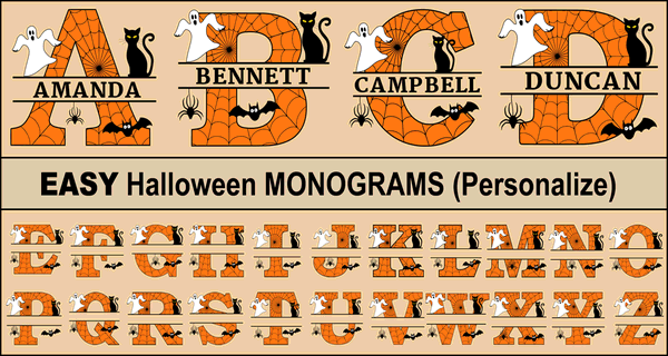 Printable Halloween Monogram Letters (Personalize Font)