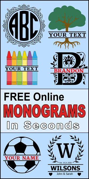 Free online monogram maker and fonts.  Print or download your monogram design, pattern, clip art, stencil, SVG, JPG, PNG