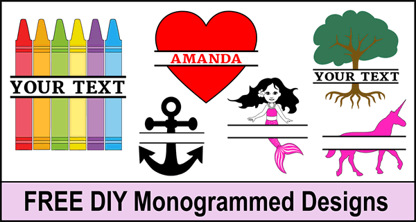 Free online monogrammed designs.  Create customized graphics, images, designs, and clip art with your name or initials using our online generator. Cutting machines (Cricut and Silhouette), DIY arts and crafts.