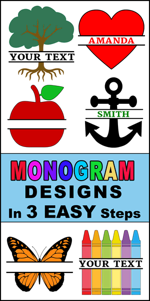 Free DIY online monogrammed designs.  Create customized graphics, images, designs, and clip art with your name or initials using our online generator. Cutting machines (Cricut and Silhouette), DIY arts and crafts.