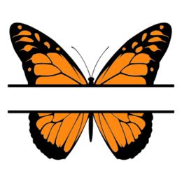 Free Butterfly split monogram stencil template clipart print download vector circuit silhouette svg laser scroll saw.
