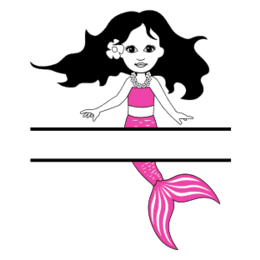 Free Mermaid split monogram stencil template clipart print download vector circuit silhouette svg laser scroll saw.