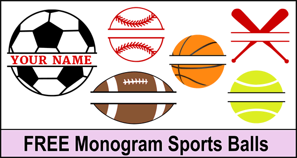 Free online monogram sports balls.  Create customized graphics, images, designs, and clip art with your name or initials using our online generator. Cutting machines (Cricut and Silhouette), DIY arts and crafts.