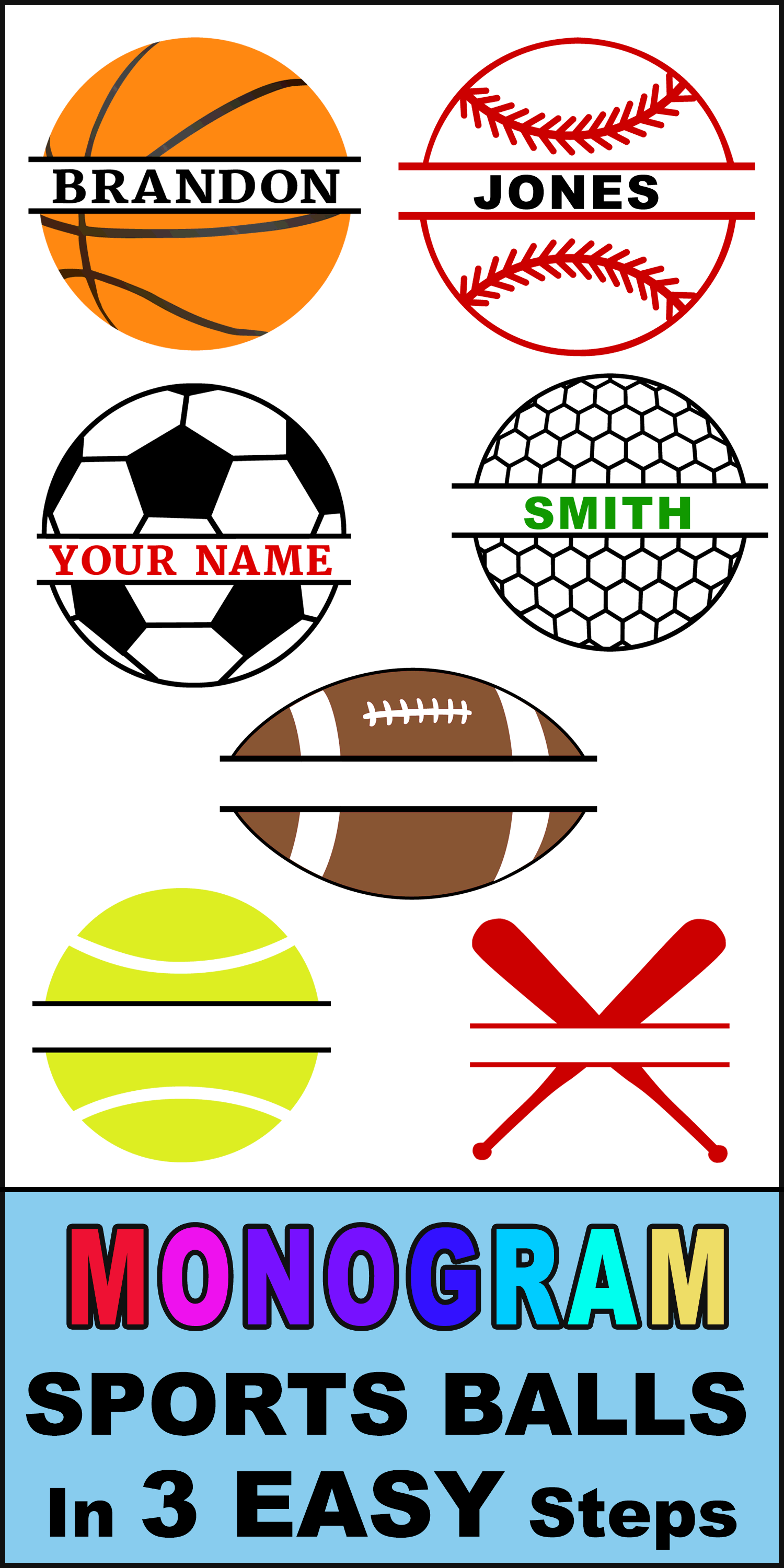 Free online monogram sports balls.  Create DIY customized graphics, images, designs, and clip art with your name or initials using our online generator. Cutting machines (Cricut and Silhouette), DIY arts and crafts.