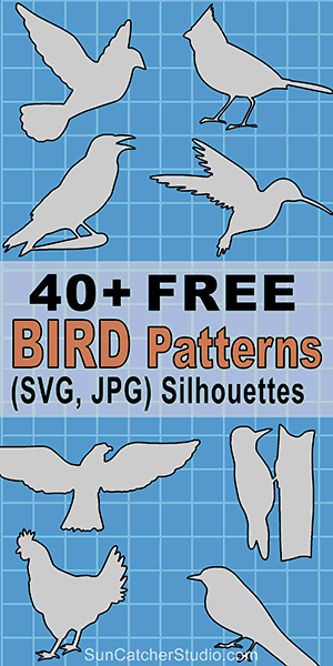 Bird silhouettes patterns, stencils, and templates for coloring pages, scroll saw patterns, laser cutting, screen printing, crafts.
