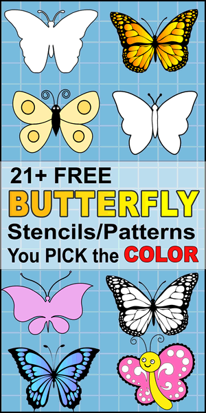 Free DIY butterfly svg stencils, printable butterfly templates, patterns, and clipart designs, monarch, coloring, laser cutting, sewing, and DIY crafts.