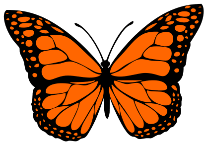 Free Monarch Butterfly Stencil, butterfly svg stencil, free template, pattern, clipart design, cricut, silhouette, scroll saw, coloring page.