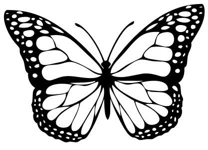Outline Monarch Butterfly Stencil, butterfly svg stencil, free template, pattern, clipart design, cricut, silhouette, scroll saw, coloring page.
