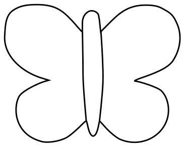 Printable Simple Butterfly Outline, butterfly svg stencil, free template, pattern, clipart design, cricut, silhouette, scroll saw, coloring page.