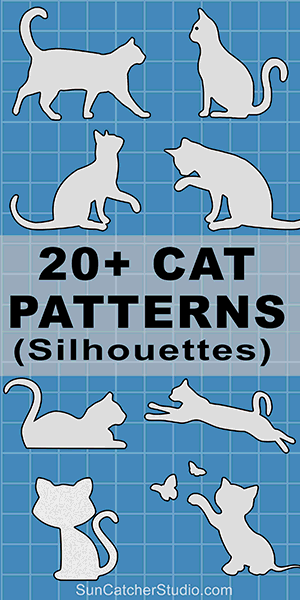 DIY Cat silhouettes patterns, stencils, and templates for coloring, scroll saw, laser cutting.
