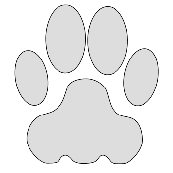 Free Cat paw print clipart. cat kitten silhouette pattern scroll saw pattern, svg, laser, cricut, silhouette, bandsaw cutting template, and coloring.