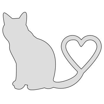 Free Cat with heart tail stencil. cat kitten silhouette pattern scroll saw pattern, svg, laser, cricut, silhouette, bandsaw cutting template, and coloring.