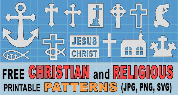 Free Printable Christian Patterns downloadable religious stencils on God Jesus Christ Faith Holy Spirit Crucifix Free Vector Graphics.