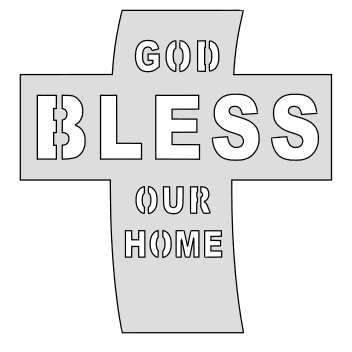 Free God bless our home. christian religious pattern stencil template print download vector svg laser scroll saw vinyl cricut silhouette cutting machines.