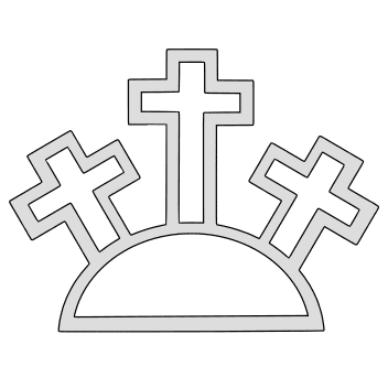 Free Three crosses on a hill (non-filled). christian religious pattern stencil template print download vector svg laser scroll saw vinyl cricut silhouette cutting machines.