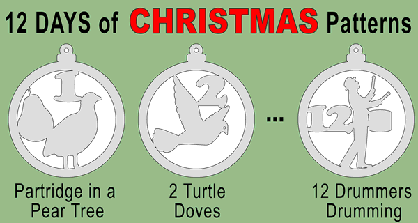 12 Days of Christmas Ornament Patterns (Scroll Saw, Laser Cutting, Coloring)