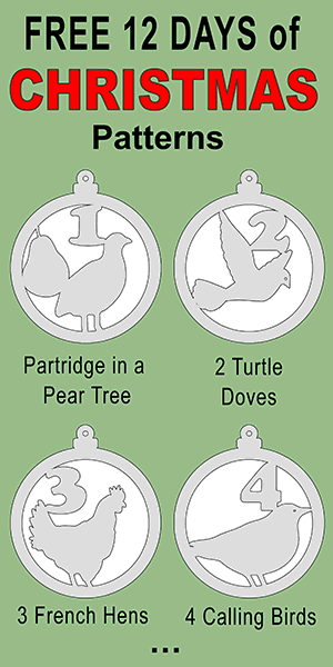 Free 12 Days of Christmas printable, DIY Christmas Tree Ornament patterns - scroll saw patterns or coloring decorations.