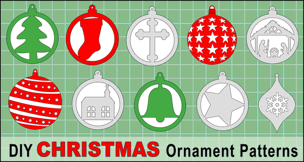 DIY Christmas Tree Ornament Patterns - Color or use as Scroll Saw Patterns
