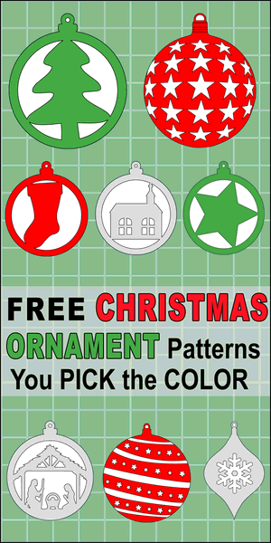 DIY Christmas Tree Ornament Patterns (round circles).  Color or use as a scroll saw pattern.